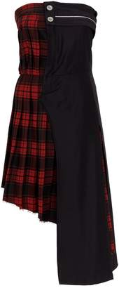 Unravel Tartan Print Off-The-Shoulder Hybrid Dress