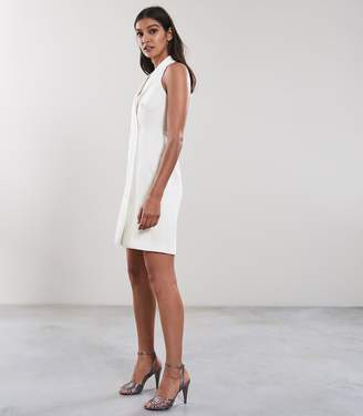 Reiss SINEAD SLEEVELESS TUXEDO DRESS Off White