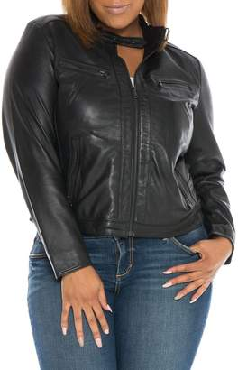 SLINK Jeans Fitted Leather Moto Jacket