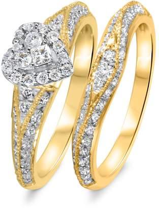 My Trio Rings 1 1/10 CT. T.W. Diamond Women's Bridal Wedding Ring Set 10K Yellow Gold