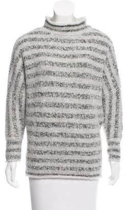 L'Agence Stripe Mock Neck Sweater