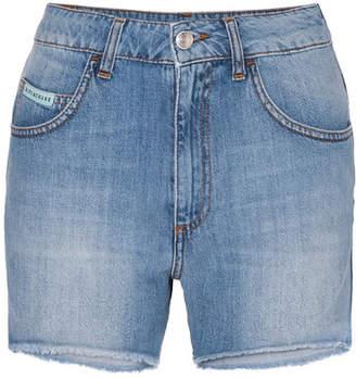 ALEXACHUNG Frayed Denim Shorts - Mid denim