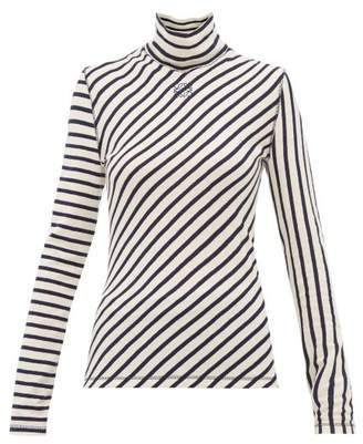 Loewe Striped High Neck Cotton Sweater - Womens - Navy White