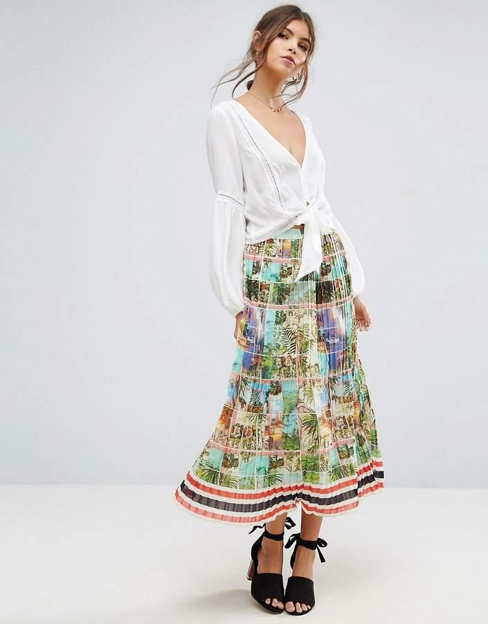 AsosASOS Pleated Midi Skirt in Postcard Print
