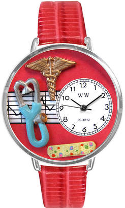 Whimsical Watches Personalized Nurse Womens Silver-Tone Bezel Red Leather Strap Watch