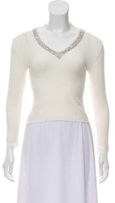 Blumarine Sequin Embellished Long-Sleeve Top