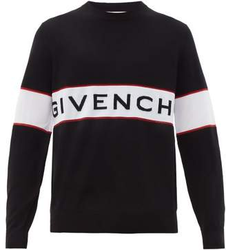 Givenchy Logo Panel Jacquard Knitted Wool Sweater - Mens - Black White