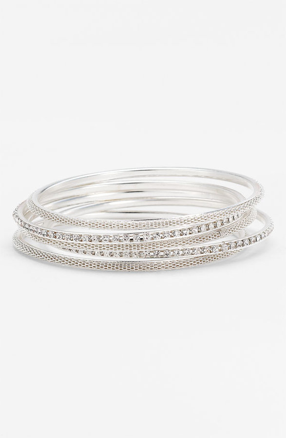 Carole Rhinestone Bangle Bracelets (Set of 5)