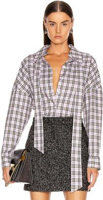Tibi Kingston Shirting Easy Top with Zipper Detail in White Multi   FWRD