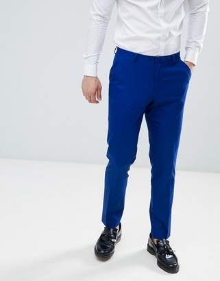 Asos DESIGN skinny suit pants in royal blue