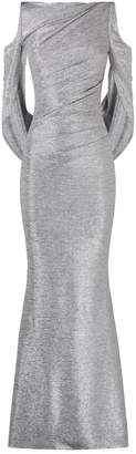 Talbot Runhof Metallic Drape Gown