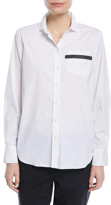 Brunello Cucinelli Button-Front Long-Sleeve Cotton Poplin Blouse with Pocket Detail