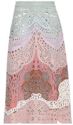 Valentino Bead-embellished Broderie Anglaise Linen Midi Skirt