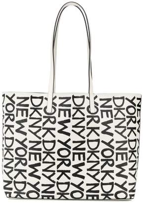 DKNY lettering logo print tote