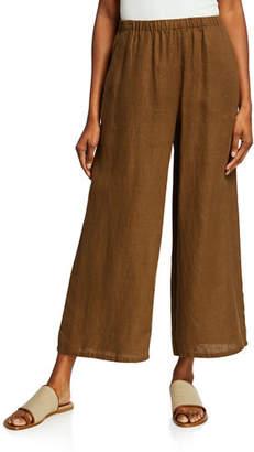 Eileen Fisher Plus Size Organic Linen Wide-Leg Crop Pant