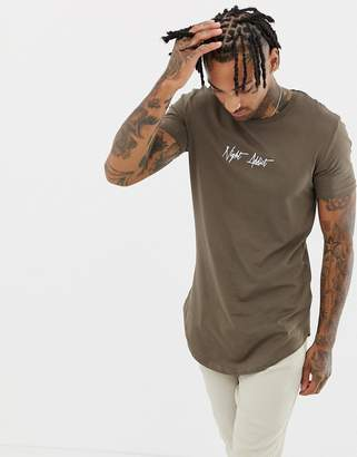 Night Addict curved hem script logo t-shirt in muscle fit