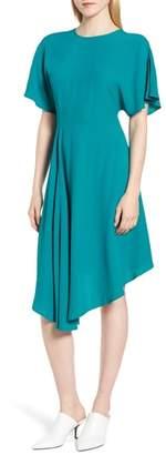Lewit Asymmetrical Slit Sleeve Crepe Dress