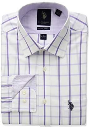 U.S. Polo Assn. Men's Regular Fit Check Or Plaid Semi Spread Collar Dress Shirt