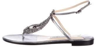 Jimmy Choo Metallic Leather Thong Sandals