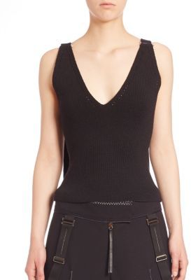 Calvin Klein Collection Rib-Knit Wool-Blend Top