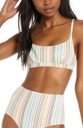 Madewell Second Wave Rainbow Stripe Sport Bikini Top