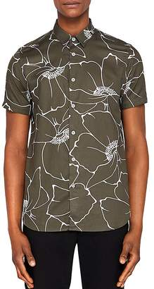 Ted Baker Andle Linear Floral Regular Fit Button-Down Shirt