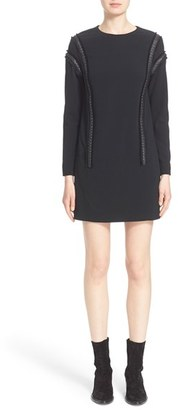 Women's Belstaff 'Hailey' Double Face Crepe Shift Dress With Leather Trim $1,195 thestylecure.com