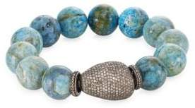 Pave Diamond Agate Bead Bracelet