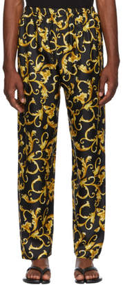 Versace Underwear Black and Gold Printed Pyjama Trousers