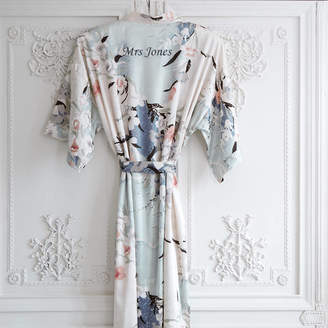 Mini Lunn Personalised Bridal Floral Print Kimono Dressing Gown
