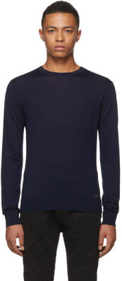 DSQUARED2 Navy Wool Classic Crewneck Sweater