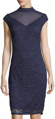 Marina Short-Sleeve Lace V-Neck Illusion Dress