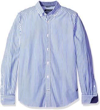 Nautica Men's Long Sleeve Poplin Medium Bengal Stripe Shirt