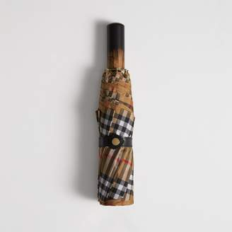 Burberry Vintage Check Folding Umbrella, Yellow