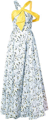 Carolina Herrera floral sateen neck gown