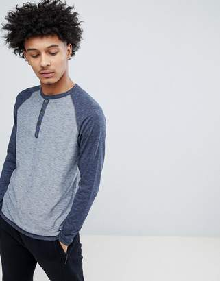 Tokyo Laundry Long Sleeve Raglan Top with Grandad Collar