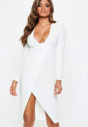 Missguided White Plunge Long Sleeve Wrap Midi Dress