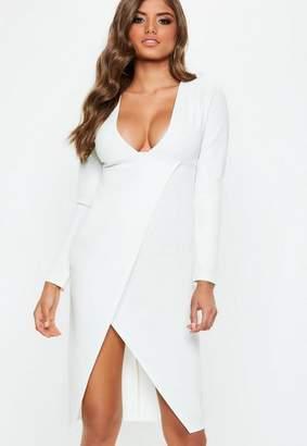 Missguided White Plunge Long Sleeve Wrap Midi Dress