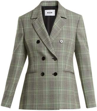 MSGM Checked double-breasted wool blazer