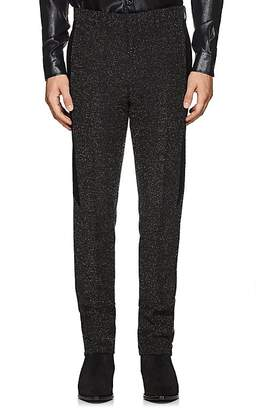 Givenchy Men's Velvet-Trimmed Bouclé Wool Flat-Front Trousers
