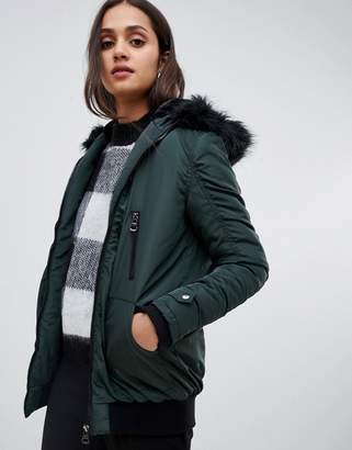 Brave Soul longline bomber coat with faux fur trim