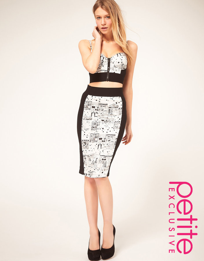 ASOS PETITE Exclusive Skirt With Souvenir Print Panel