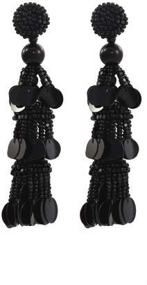 Oscar de la Renta Beaded sequin tier drop earrings