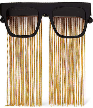 Stella McCartney Chain-embellished D-frame Acetate Sunglasses - Black