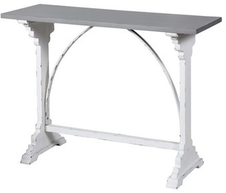 Generic Distressed Metal and Wood Side Table - White with Destressing, Grey