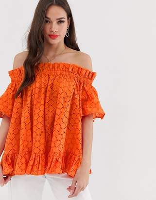 0bf70855cb5e6d Asos Design DESIGN off shoulder top in broderie
