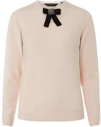 Dorothy Perkins Womens Blush Brooch Crew Jumper