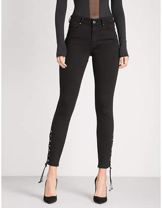 Good American Good Legs lace-up skinny high-rise jeans
