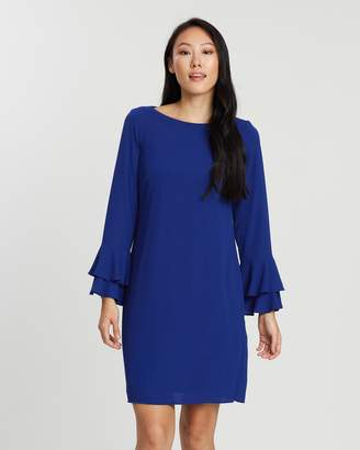 Wallis Double Flute Sleeve Shift Dress
