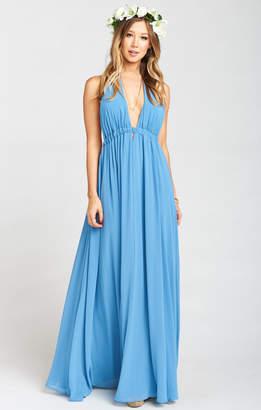 Show Me Your Mumu Luna Halter Dress ~ Coastal Blue Chiffon